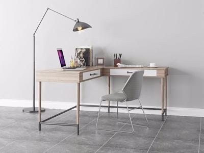 现代转角书桌椅组合3D模型【ID:932377089】
