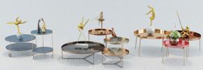 现代金属茶几边几花瓶摆件组合3D模型【ID:927828647】