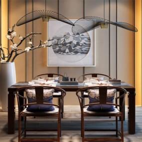 现代新中式餐厅餐桌椅植物吊灯挂画组合3D模型【ID:327894463】