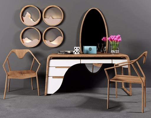 本易新中式梳妆台椅子墙饰壁灯组合3D模型【ID:227889655】