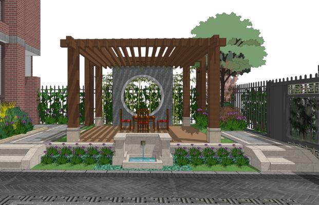 中式庭院景观SU模型【ID:550738900】