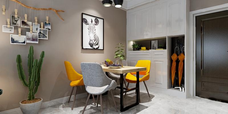 北欧餐桌椅组合3D模型【ID:120619838】