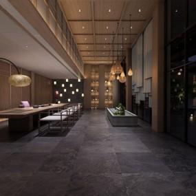 新中式民宿大堂茶室3d模型【ID:428264226】