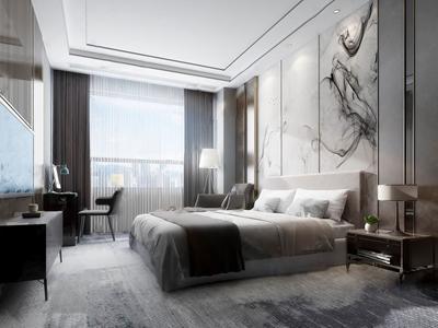 新中式卧室酒店包间客房3D模型【ID:741980313】