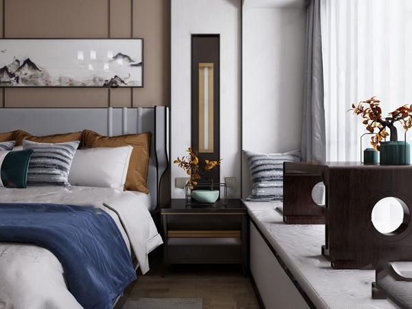 新中式雙人床床頭柜組合3D模型【ID:846263724】