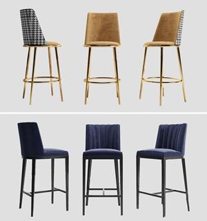 现代吧椅组合3D模型【ID:941355270】