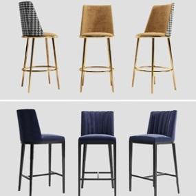 现代吧椅组合 3D模型【ID:941355270】