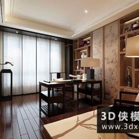 现代简约中式书房书桌椅落地灯组合国外3D模型【ID:729776716】