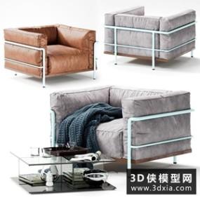 现代单人沙发组合国外3D模型【ID:729305688】