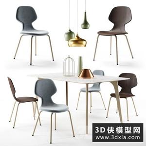 現代餐桌椅模型組合國外3D模型【ID:729311727】