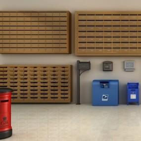 现代信报箱储物柜组合3D模型【ID:227782702】