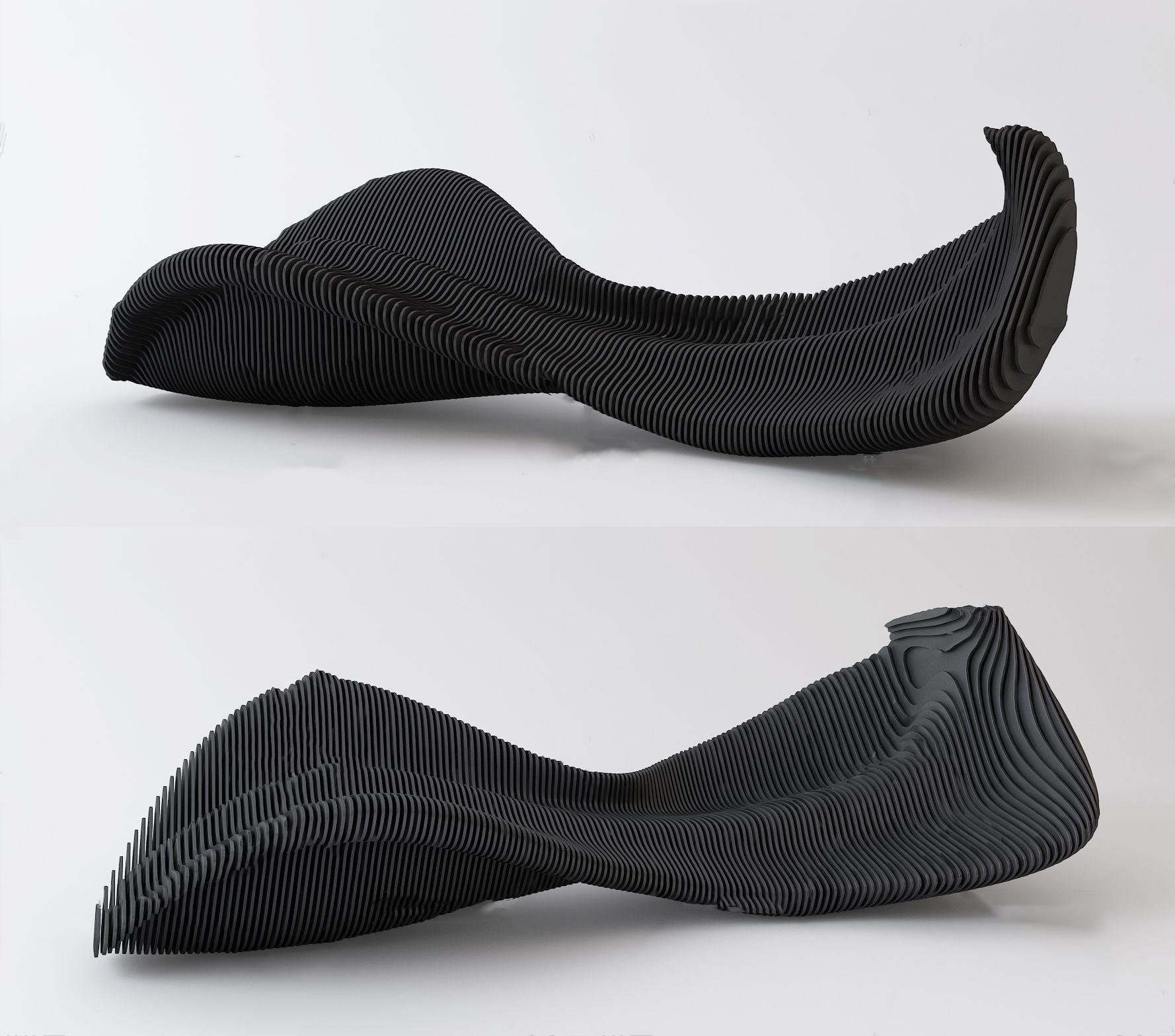 现代异形公用椅3D模型【ID:243349408】