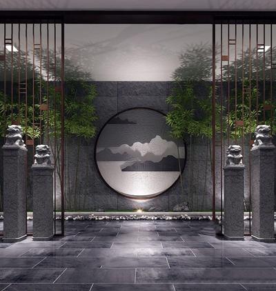 新中式玄關景觀小品組合3D模型【ID:128217136】