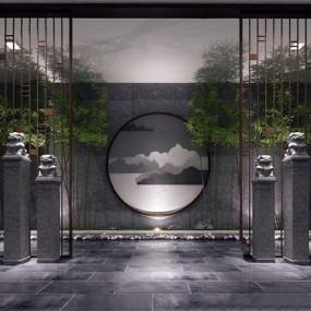 新中式玄关景观小品组合3D模型【ID:128217136】