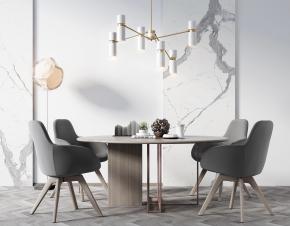現代圓形餐桌餐吊燈組合3D模型【ID:327785454】