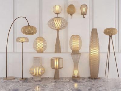 自然風竹編壁燈臺燈落地燈組合3D模型【ID:631405224】