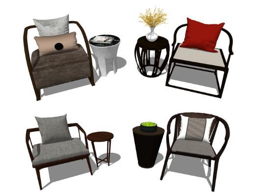 新中式單人椅子角幾組合SU模型【ID:947336469】