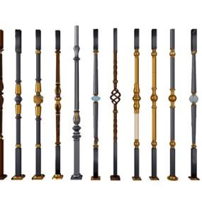 新古典金属楼梯栏杆柱子3d模型【ID:349328415】