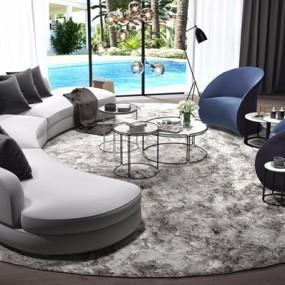 现代圆弧沙发茶几3D模型【ID:127872098】