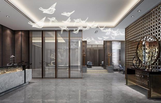 新中式餐厅3D模型【ID:828325596】
