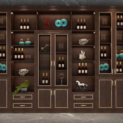 中式实木酒柜组合3D模型【ID:928559008】