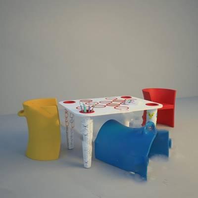 现代桌椅组合下载3D模型【ID:919453218】