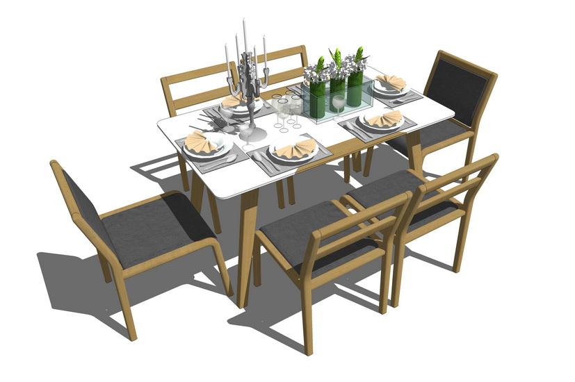 现代餐桌餐具组合SU模型【ID:636358661】