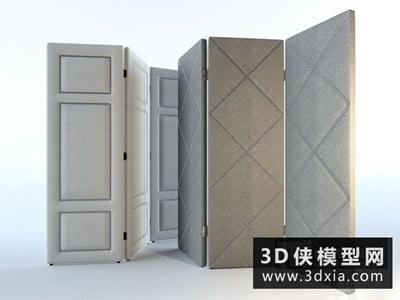 現代軟包屏風國外3D模型【ID:929620514】