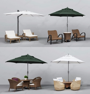 戶外椅遮陽傘組合3D模型【ID:628299071】