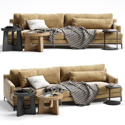 現代布藝雙人沙發邊幾組合3D模型【ID:927836732】