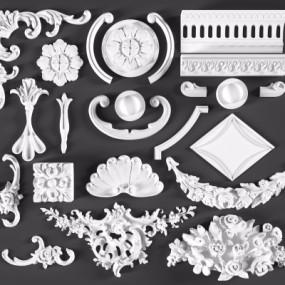 欧式雕花角花石膏线3D模型【ID:828474656】