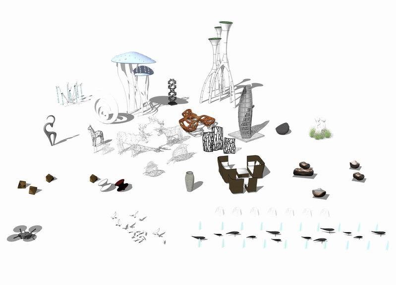 广场水母鱼形雕塑小品组合SU模型【ID:636358692】