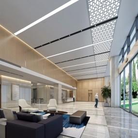 现代办公大楼大堂3D模型【ID:427974233】