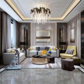现代复式轻奢客厅3D模型【ID:128413224】