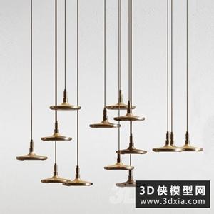 現代金属吊燈国外3D模型【ID:829459760】