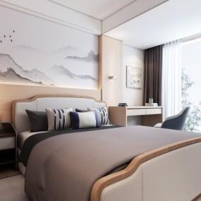 新中式卧室3D模型【ID:128413357】