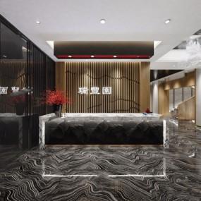 新中式接待厅3D模型【ID:528280245】