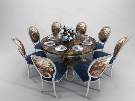 欧式桌椅组合3D模型下载【ID:319453409】