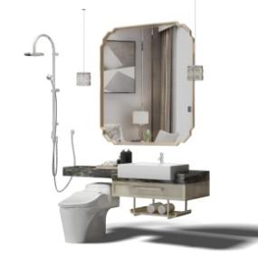 现代洗手台镜子花洒马桶吊灯组合3D模型【ID:927824437】