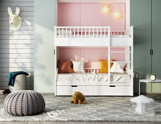 北欧儿童房家具组合3D模型【ID:628296971】