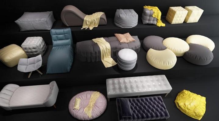 现代懒人沙发脚踏布艺沙发组合3D模型【ID:427955603】