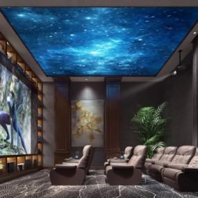 新中式家庭影院影视厅3D模型【ID:827814986】