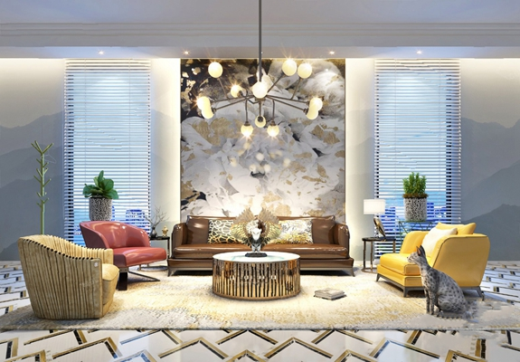 现代沙发茶几组合3D模型【ID:620607023】