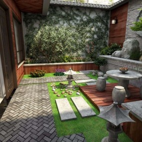 新中式花园3D模型【ID:828143438】