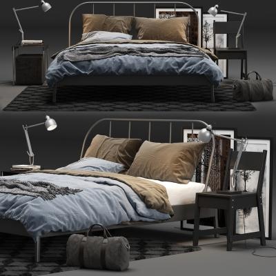 工业风铁艺双人床床头柜装饰画3D模型【ID:727812014】