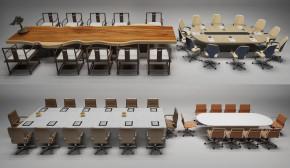 现代会议桌椅摆件组合3D模型【ID:227780315】