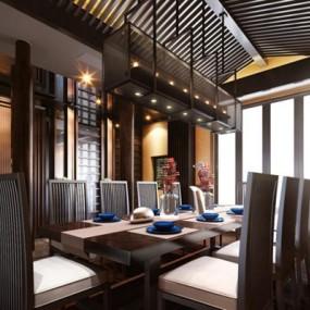 中式餐厅餐桌椅组合3D模型【ID:227876985】
