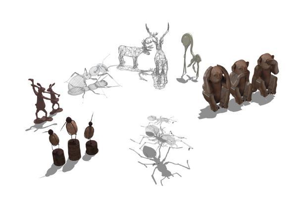 动物雕塑组合SU模型【ID:650734652】