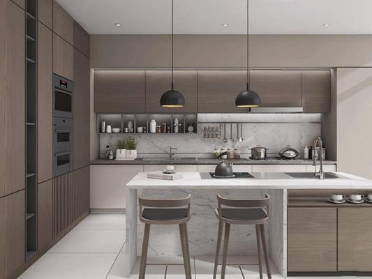 现代厨房3D模型【ID:528015096】
