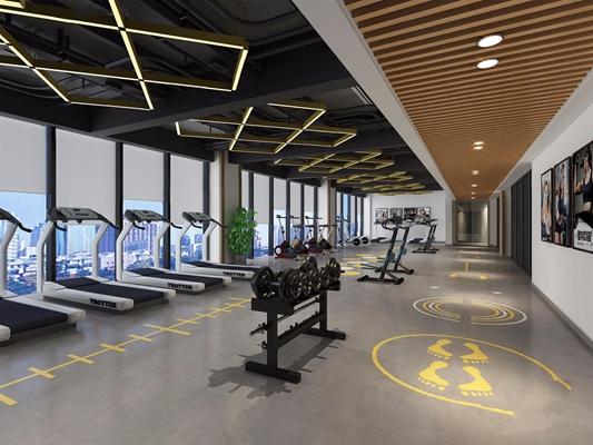 工业风健身房3D模型【ID:927990688】